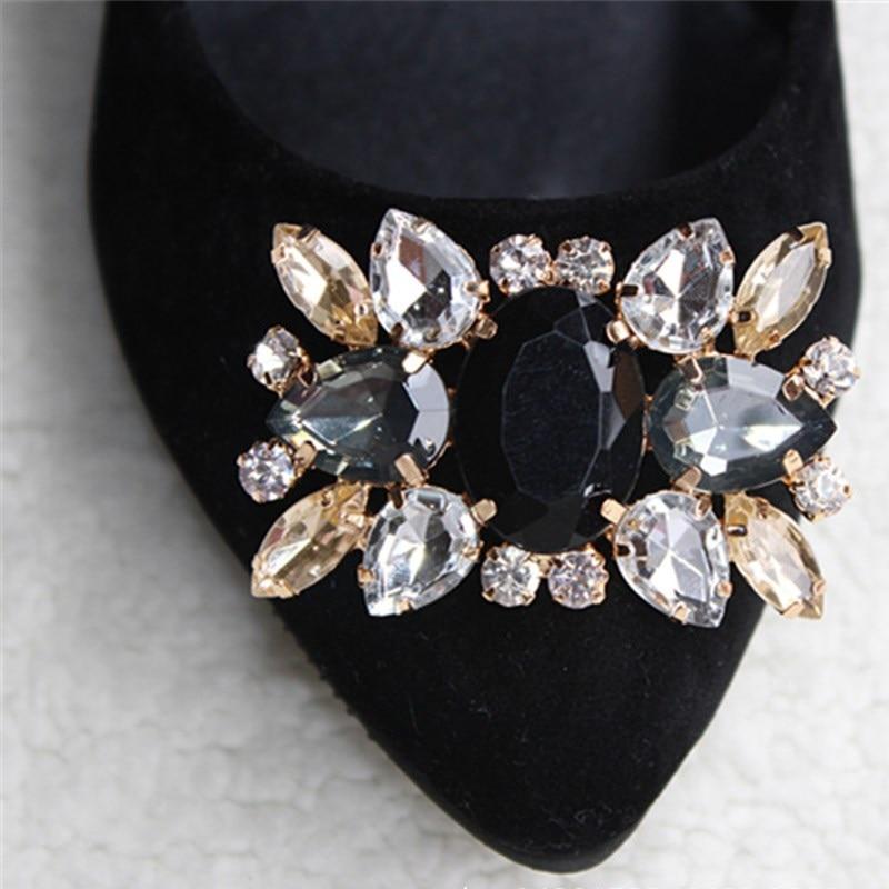 1Piece sakausējuma rhinestone kurpes klipi, līgavas kāzu apavi dekoratīvie, modes apavu aksesuāri, šarmu stikla urbju apavu sprādze