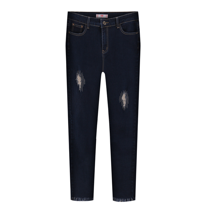 Fashion lady  Large Size Jeans XL-5XL  2017 Spring And Summer New Hole Jeans Nine Pants High Waist Was Thin Slim Pants
