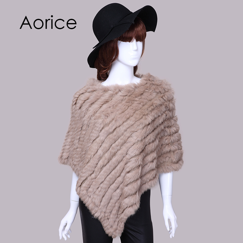 Aorice Knitted rabbit fur shawl poncho stole cape scrap s