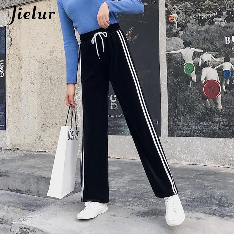 Jielur   Pants   Female Velvet Kpop Vintage   Wide     Leg     Pants   Warm Hipster Streetwear Stripe Trousers Loose Drawstring Pantalon Mujer