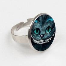 цена на GDRGYB 2019 Cartoon Cheshire Cat Glass Cabochon ring Punk Metal ring Movie Alice in Wonderland Jewelry
