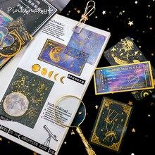 Moon Planet diario pegatina de papel para decoración de oro pegatinas Diy Ablum álbum de recortes diario etiqueta adhesiva Kawaii papelería