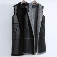 Autumn Winter Leather Vest Women Waistcoat Lamb Wool Sleeveless Slim PU Leather Waistcoat Coats Abrigo Mujer Warm Long Vest Q930