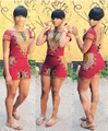 2016 Verão Mulheres Two Piece Outfits Dashiki Print Floral Top de Culturas E Calções Conjunto Ocasional Macacão Feminino Sexy Bodysuit Macacão