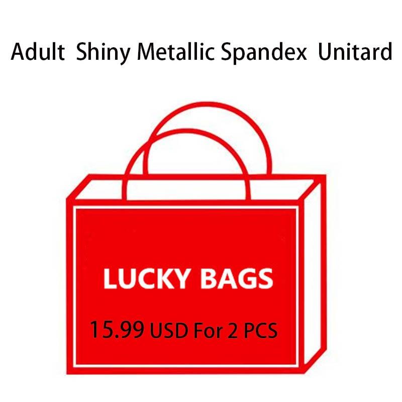 Lucky Bags 2 pcs Adult High Quality Shiny Metallic Spandex Unitard Bodysuit Leotards Dance Costumes Gymnastics suit Catsuit