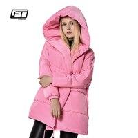 冬のジャケット女性90%白いアヒルダウンパーカー緩いフィットプラスサイズフード付きコートミディアムロング暖かいカジュアルピンク雪生き抜く