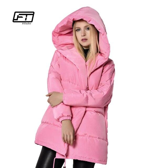แจ็คเก็ตฤดูหนาวผู้หญิง90%สีขาวเป็ดลงParkasหลวมพอดีขนาดบวกเสื้อคลุมด้วยผ้าขนาดกลางยาวที่อบอุ่นสบายๆสีชมพูหิมะทนกว่า