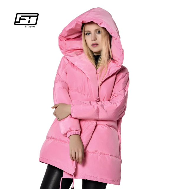 Winter Jackets Women 90% White Duck Down Parkas Loose Fit Plus Size Hooded Coats Medium Long Warm Casual Pink Snow Outwear