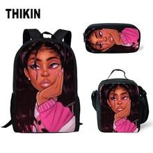 THIKIN School Backpack for Kids Black Art African Girl Printing 3pcs/set Bags Children Primary Book Bag Stachel