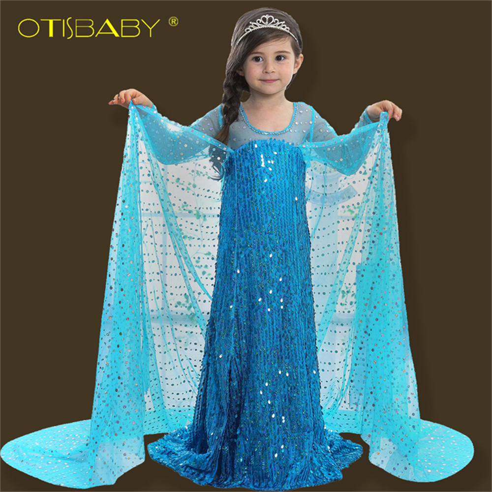 Children Snow Queen Fantasia Girls Elsa Princess Dress for Girls Aurora Long Winter Long Sleeve Sequin Dress Infant Kids Clothes girls beauty glamorous bow sequin embroidery bubble long sleeve full clip dress