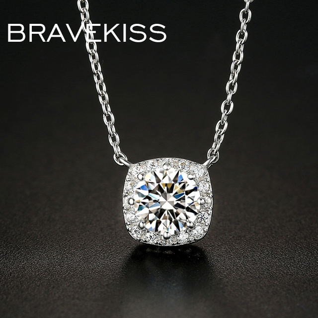 2f137b1cc BRAVEKISS 925 Sterling Silver Circle Pendant Necklace For Women Adjustable  Extend Link Chain Necklace With CZ