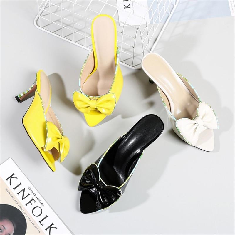 Pantoufles noir Xinbest Mode Minces Couleurs noeud Air Plein Femme Papillon En Jaune Toe Mélangées De Pour Beige Hauts Peep jaune Talons Femmes Babouches 11YUwrq