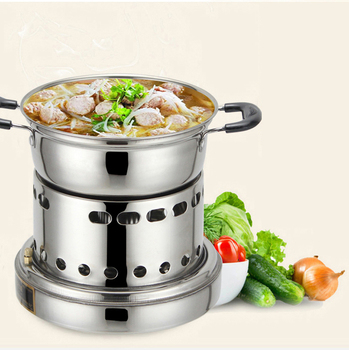 Stainless Pot Thick Stainless Alcohol Stove Portable Outdoor Single Small Fire Boilers Windproof Liquid Pot Kitchen Tools