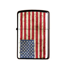 Gasoline Flint Lighter Metal Kerosene Oil Lighter Refillable Frosted Flag Series