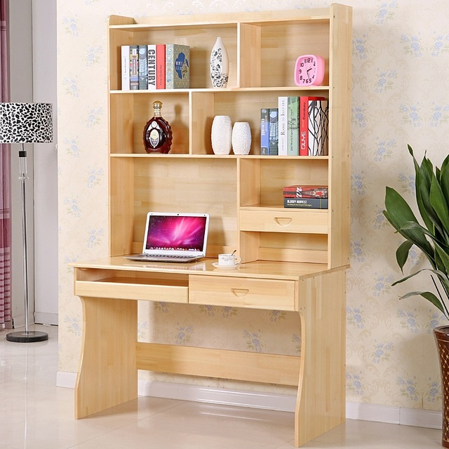 Solid Wood Tables And Chairs For Children To Learn Computer Desk With Bookcase Combination Right Angle
