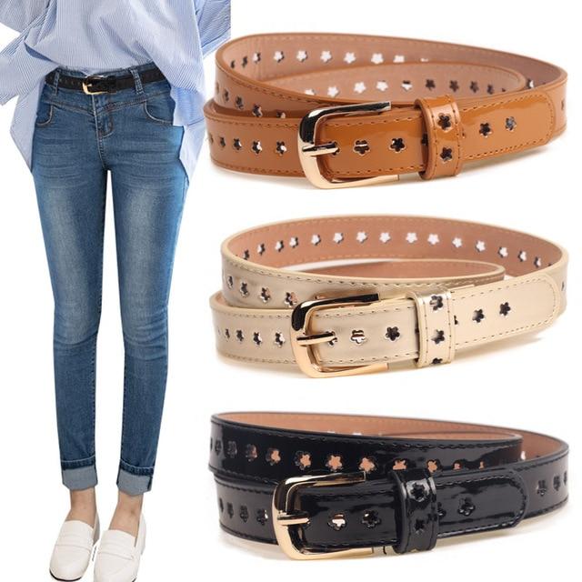 Breve moda hueco-hacia fuera de la Mujer correa de cuero Pin hebilla Jeans  Cinturones 8a6224fd3859