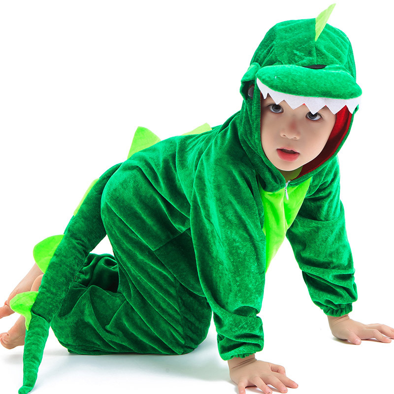 Image 4 - Dinosaur Party Supplies Halloween Costume For Kids Animal Hooded Jumpsuit Dinosaur Costume Velvet Black/Green Cosplay Costume