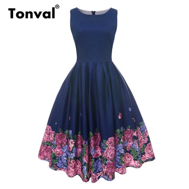 4e413906c97 Tonval Vintage Floral Print Women Retro Dress Pleated Rockabilly Dress O  Neck Summer Ladies Navy Cotton Dresses