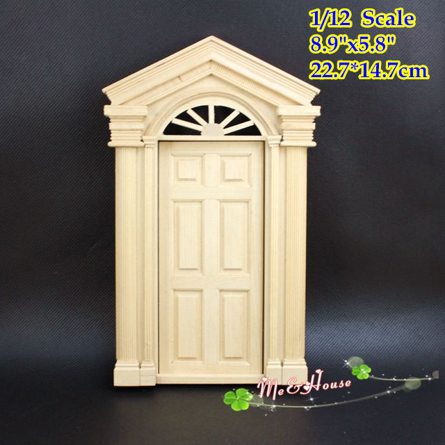 DIY 1/12 Wood Federal Revival Front Door Dollhouse Miniatures Furniture