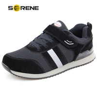 SERENE Elderly Mens Shoes Spring High Top Father Mother Safety Walking Sneakers Anti Slip Soft Rubber