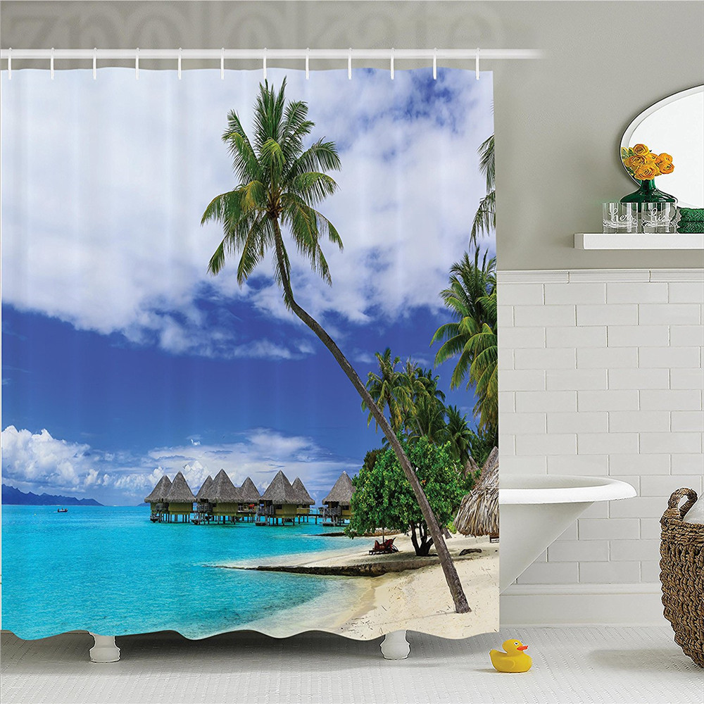 Tropical Decor Shower Curtain Set Over-Water Bungalows Of Tropical Resort Bora Bora Island Pacific Ocean Panorama Bathroom Acces