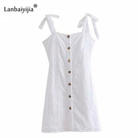 Lanbaiyijia Newest Sweet Floral Hollow Out Embroidery Spaghetti Strap Dress Tied Bowknot Silm White Mini Dress Sexy Women Dress