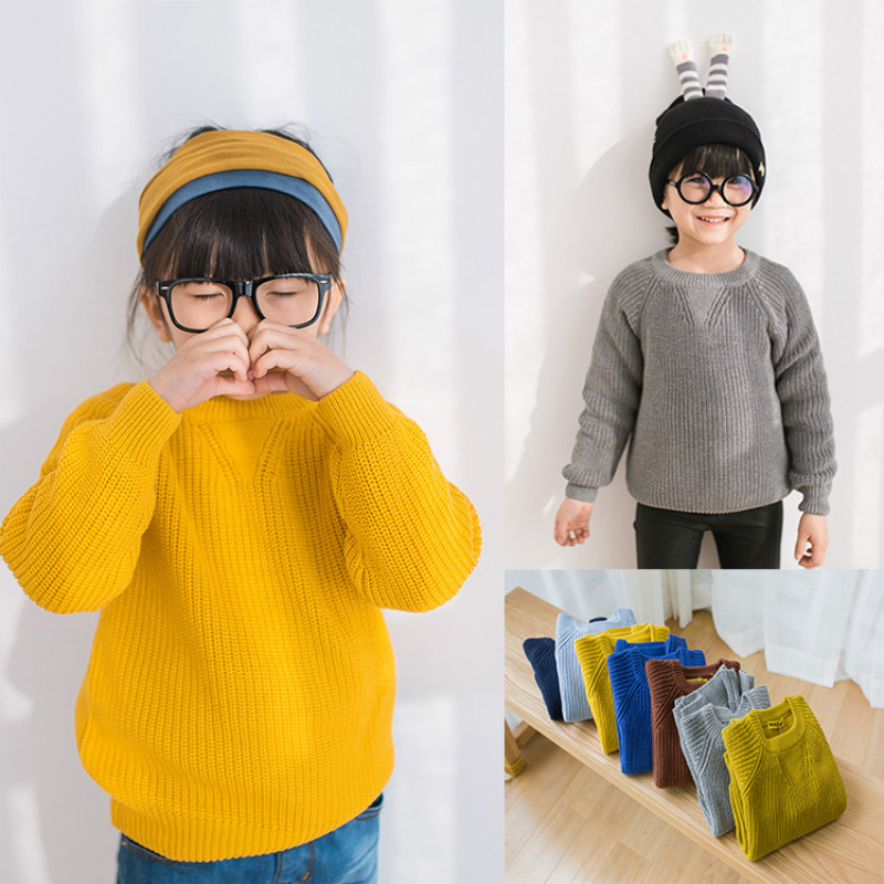 Girls sweater 2018 new spring and autumn fashion children's sweater girls solid color knit bottoming shirt boys sweater coat twist back crop chunky knit sweater