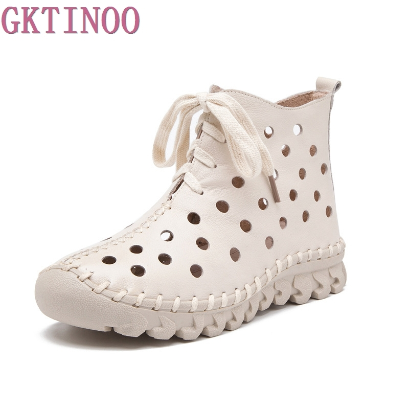 Women Boots Genuine Leather Ankle Boots Hollow Summer Boots Chaussures Femme Comfortable Handmade Flat Women Shoes