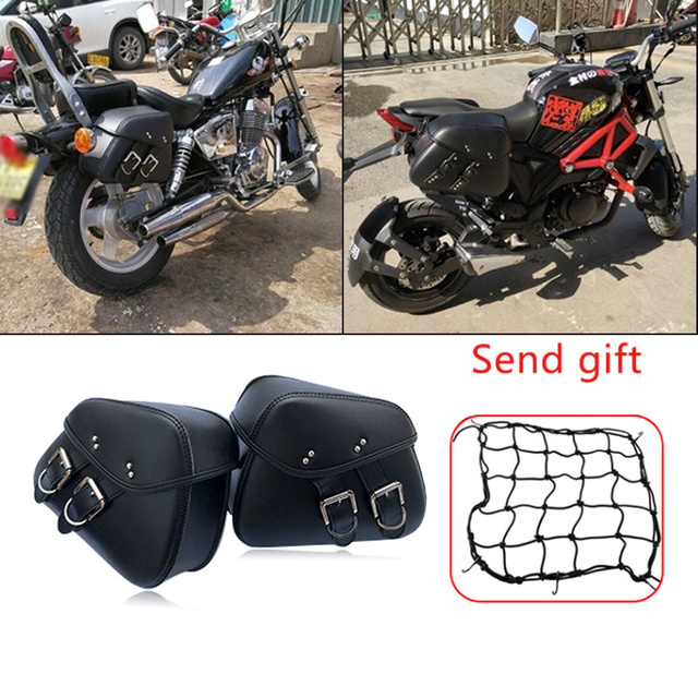 Motorbike  Saddlebags PU Leather Motorcycle Side Tail Tool Bag Luggage for Harley Sportster  883 1200 Saddle Bags