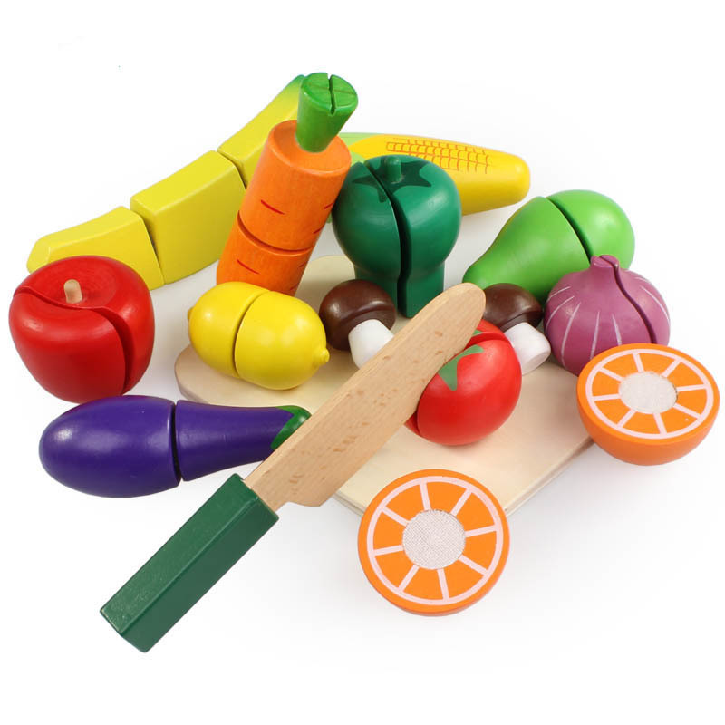 15PCS/SET Wooden Kitchen Toys Cutting Fruit Vegetable Play Food Kids Wooden fruit Toy fruit and vegetables food toy XWJ369-