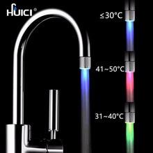 Home Improvement - Kitchen Fixture - HUICI 3 Style Temperature Sensor Intelligent Recognition Temperature Different LED Light Color Water Tap Faucet Shower
