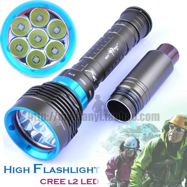 ФОТО High Power Light Diving Dx7 Flashlight 18000 Lumens Underwater 80m Flashlight Cree Xm-l2 Diving Power Flashlight Free Shipping