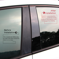 Glossy Black Car BC Window Pillar Anti Scratch Mirror Surface Sticker PC Post Cover Fit For