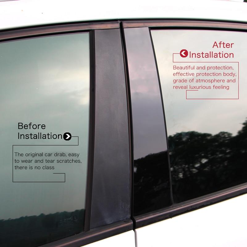 Glossy black car BC window pillar anti scratch mirror surface sticker PC post cover fit for Toyota REIZ RAV4 COROLLA LEVIN