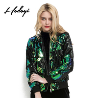 Hodoyi Autumn Women Green Sequined Jacket Casual Fashion Long Sleeve Basic Coats Preppy Blingbling mermaid Party Biker Outerwear
