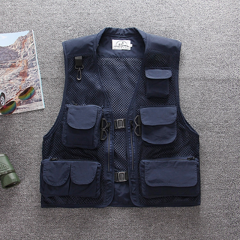 Image 2 - Summer outdoor Men Multi Pocket Baggy Vest  men Thin Mesh Shooting Work Outerwear Sleeveless Jacket  Many Pockets fishing vest-in Vests & Waistcoats from Men's Clothing