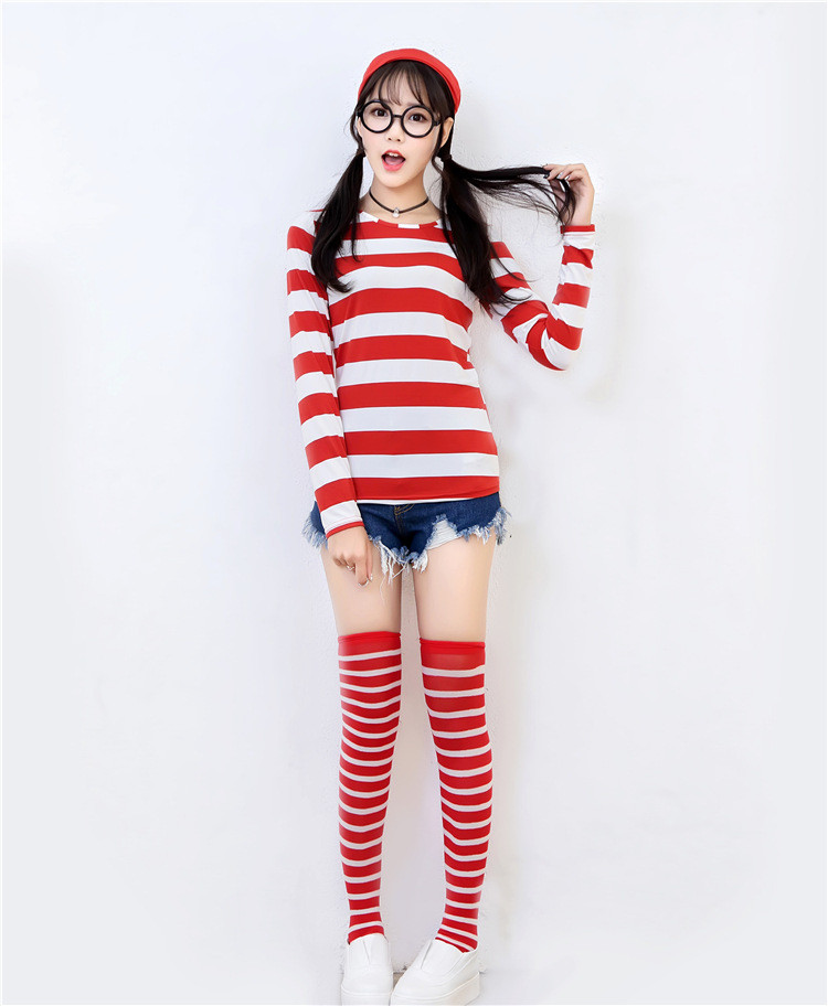 Women Girls Wheres Waldo Costume Where Is Wally Long Sleeve Shirt