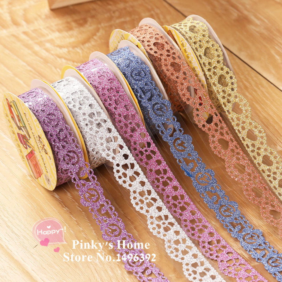 How to scrapbook with glitter - Diy Self Adhesive Lace Tape Glitter Tape Masking Decorative Sticky Tape Scrapbooking Book Decor Craft Rolls