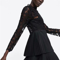 ZA 2019 Summer New Women Sexy Fashion Hollow Out Lace Black Dress