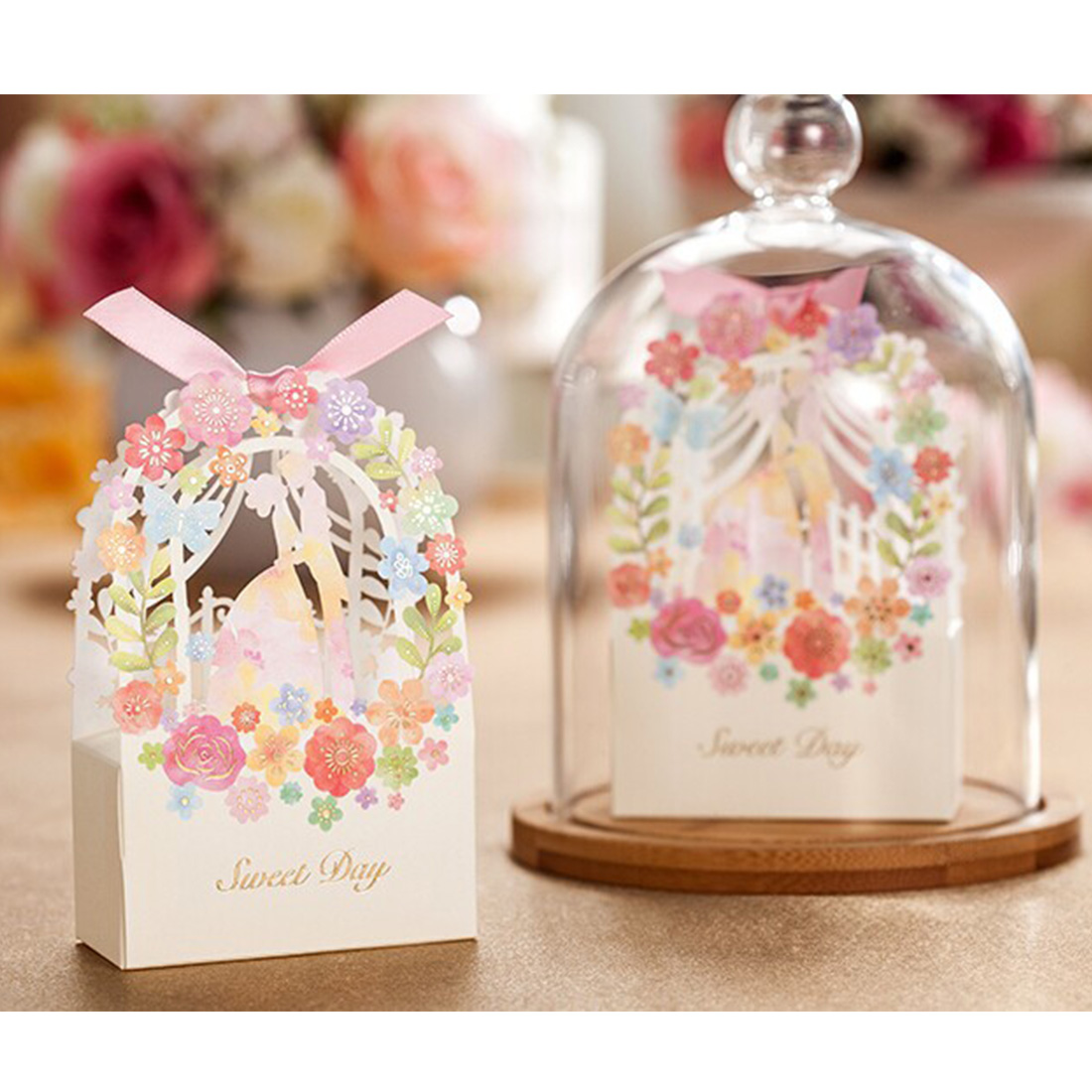 hot 50pcs sweet wedding favors gifts box flower laser elegant luxury decoration party event supplies paper