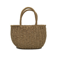 Storage Basket Willow Wicker with Linen Picnic Shopping Hamper with Handle Handmade Rattan Steamed Cassette Cover 26x13 x19cm