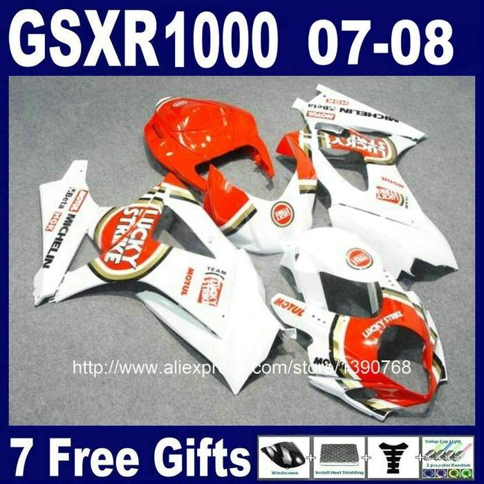 ABS пластик обтекатель комплект для SUZUKI GSXR1000 2007 2008 K7 GSXR 1000 07 08 Белый LUCKY STRIKE Обтекатели для кузова Комплект CB47+ 7 подарки