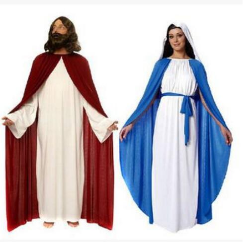 New Halloween Party Cosplay Costume  Adults Roman Greek Costume Jesus and Virgin Mary costume Free Shipping