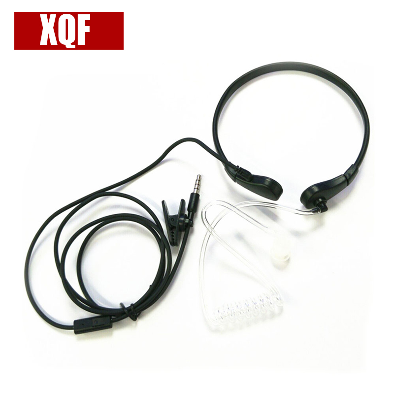 XQF 1 Pin 3.5mm Throat MIC Headset Covert Air Tube Earpiece for Phone Mobile Phone black