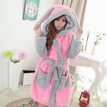 벨벳 따뜻한 후드 패션 여성 가운 산호 양털 잠옷 동물 귀여운 만화 잠옷 로브 여자 Nightdress