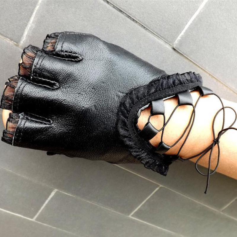 Vrouwen Zwart Half Vinger Lederen Handschoenen Zachte Schapenvacht