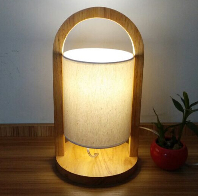 Modern Table Lamp Light For Bedroom Study Office,Oak Wood Base Cloth  Cylindrical Shade Table Lamp E27 Bedside Lamps Wooden Lamp In LED Table  Lamps From ...