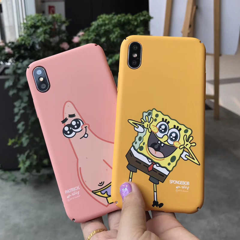new product a4c6c 422f5 For iphone XS max SpongeBob series Cartoon Case Cover For iPhone XR X 8  8plus 7 7plus matte hard shell for iPhone 6 6S 6p case