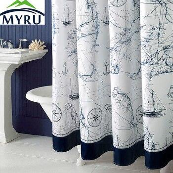 MYRU Sailing Blue Marine shower curtain polyester shower curtains for bathroom cool shower curtain free shipping zwbra shower curtain