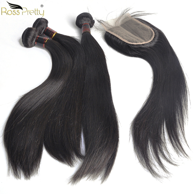 Ross Pretty Remy Brazilian Straight Hair Bundles With Closure Baby Hair Pre Plucked Lace Closure With bundles human hair weave